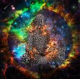 Meditação místico do espaço ilustração royalty free