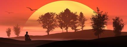 Meditação na natureza pelo por do sol Imagens de Stock Royalty Free