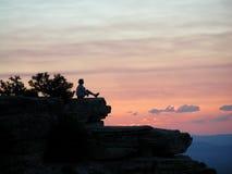 Meditação roxa Fotos de Stock Royalty Free