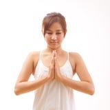 Meditación de la yoga de la mujer Imagenes de archivo
