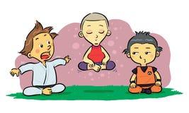 Meditación de los niños stock de ilustración
