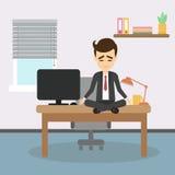 Meditación en el trabajo ilustración del vector