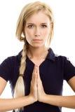 Meditación hermosa de la mujer del deporte de la yoga Foto de archivo libre de regalías