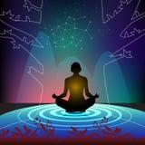 Meditación practicante al alma pura stock de ilustración