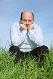 Meditación gorda del hombre Imagen de archivo libre de regalías