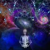Meditaion. Skeletal figure meditates in cosmos Stock Image