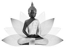 Meditando a Buda posture nas cores de prata e pretas nos lótus Imagens de Stock