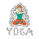 Meditando a ilustração da mulher Foto de Stock Royalty Free