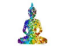 Meditando a postura da Buda em cores do arco-íris Fotografia de Stock