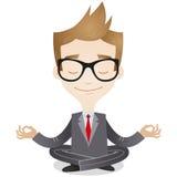Meditar calmo do homem de negócios Fotos de Stock Royalty Free