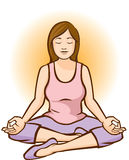 Meditar da mulher (Aura Background) Imagem de Stock