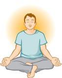 Meditar do homem (Aura Background) Fotos de Stock Royalty Free