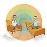 Meditar a hombres con el fondo del arco iris Foto de archivo libre de regalías