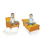 Meditar a hombres en blanco/transparente Imagen de archivo libre de regalías