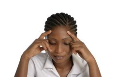 Meditare abbastanza africano della donna Fotografia Stock
