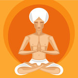 Meditare degli Yogi Immagine Stock