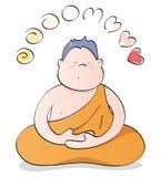 Meditare felice di Buddha Immagini Stock