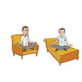Meditare gli uomini senza fondo o ombre Immagini Stock Libere da Diritti