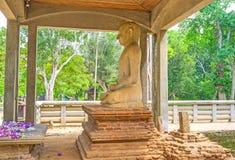 Meditare la statua di Buddha nel parco di Mahamevnawa Fotografia Stock Libera da Diritti