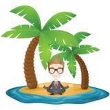 Meditare uomo d'affari che si siede sulla spiaggia di una t Immagini Stock