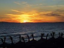 Meditarranean sea fisherman at sunset Royalty Free Stock Photos