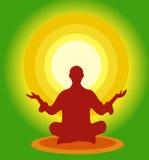 Meditate. Buddhist meditating in lotus position Royalty Free Stock Image