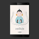 Meditate smart phone Stock Photography