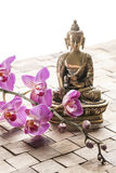 Meditate before spa treatment and feng shui revitalization Royalty Free Stock Photo