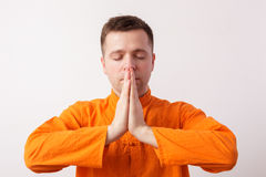Meditate, trying to reduce the stress and bad thoughts Stock Images