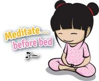 meditate vor Bett Stockfotos