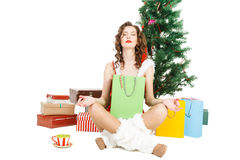 Meditated christmas girl isolated on white background Royalty Free Stock Photos