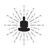 Meditatie Menselijk die silhouet op witte Vector wordt geïsoleerd als achtergrond Stock Fotografie