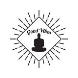 Meditatie Menselijk die silhouet op witte Vector wordt geïsoleerd als achtergrond Royalty-vrije Stock Fotografie