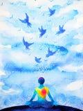 Meditatie menselijke, vliegende vogels in de blauwe illustratie van de hemel abstracte mening royalty-vrije illustratie