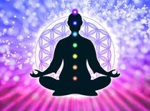 In meditatie met chakras vector illustratie