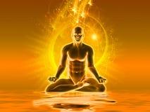 Meditatie met gouden licht Stock Afbeeldingen