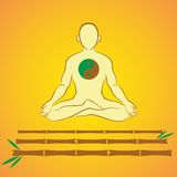 Meditatie op bamboestokken Royalty-vrije Stock Afbeelding
