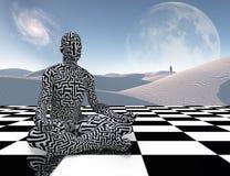 Meditatie op een schaakraad vector illustratie