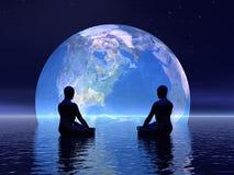 Meditatie voor 3D aarde - geef terug Stock Foto