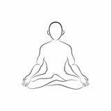 Meditatiesilhouet Royalty-vrije Stock Fotografie