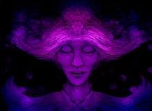 Meditatieve geestelijke mens op zwarte achtergrond, het trekken stock illustratie