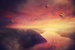 Meditatieve purpere zonsondergang stock fotografie