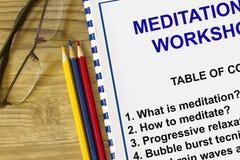 Meditatieworkshop stock afbeelding