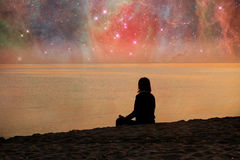 meditating γυναίκα Στοκ Εικόνα