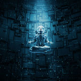 Meditating astronaut concept. 3D illustration of astronaut in lotus pose under beam of light Stock Photo