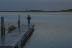 Meditating  at Bethany Reservoir. San Joaquin Valley, CA. USA Royalty Free Stock Image