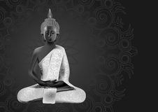 Meditating Buddha posture in silver and black colors. On mandala background Royalty Free Stock Photos