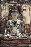 Meditating Buddha statue. In ruins of Wat Mahathat Temple, Autthaya, Thailand stock photography