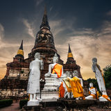 Meditating Buddhas at Wat Yai Chai Mongkhon. Ayutthaya, Thailand Stock Photos