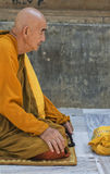 Meditating Buddhist Monk Stock Photo